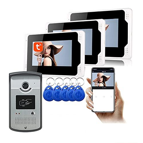 Timbre con video WiFi, APP Tuya de 7 pulgadas, desbloqueo de videoportero 1080P, intercomunicador, cámara de visión nocturna + monitor