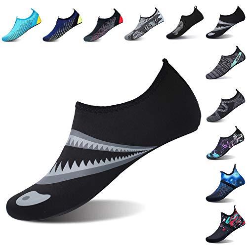 L-RUN Womens Swim Shoes Unisex Aqua Sock Light Black L(W:8.5-9.5,M:7-7.5)=EU39-40
