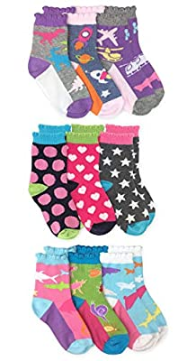 Jefferies Socks Girls Fashion Novelty Multi Pattern Animal Dinosaur Shark Space Airplane Crew Socks 9 Pair Pack