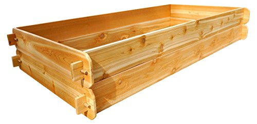 Timberlane Gardens Raised Bed Kit Double Deep, Western Red Cedar Mortise Tenon Joinery, 3' W x 6' L