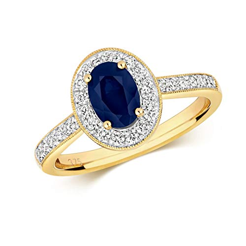 Genuine Hallmarked 9ct Yellow Gold 0.33ct Diamond Cluster Oval Sapphire Ring Sizes J-QBrand New