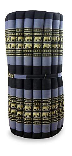 livasia Kapok Rollmatte in 190cm x 75cm x 4,5cm der Marke Asia Wohnstudio; Liegematte BZW. Yogamatte, Thaikissen, Thaimatte als asiatische Rollmatratze (blau/Elefanten)