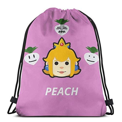 WH-CLA Bolsas con Cordón Peach Head Print Casual Hombre Mujer Anime Travel Unique Gym Bolsas con Cordón...