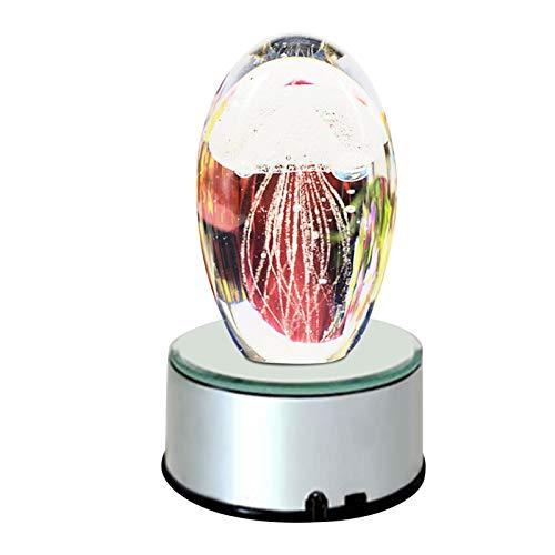 Yves25tate Glasquallen Nachtlicht Mehrfarbig 3D Romantisches Kleines Licht, Bunte Quallen Spieluhr, Geeignet Für Valentinstag Geschenke Und Geburtstagsgeschenke