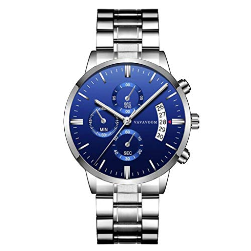 UINGKID Collection Unisex-Armbanduhr Mann beiläufige Uhr-Quarz-Edelstahl-wasserdichte Kalender-Uhr