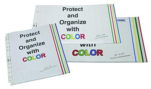"Stride EasyFit Color Bar Sheet Protectors, 11"" x 17"", Landscape Orientation, Box of 60 (61400),Multicolor Photo #3"