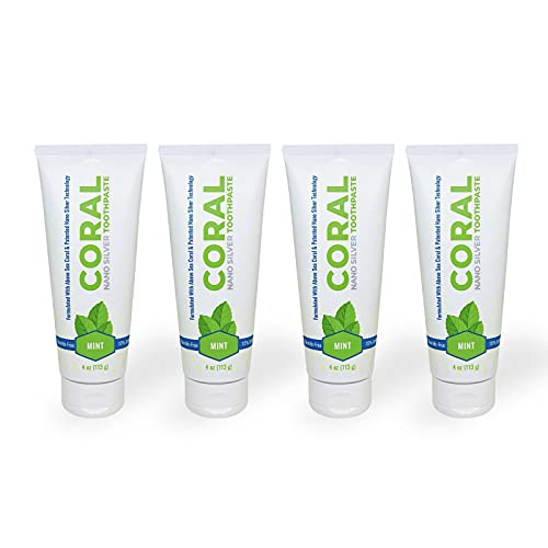 Coral White Nano Silver Mint Toothpaste, Natural Fluoride Free Teeth Whitening Toothpaste, Coral Calcium Nano Silver Infused SLS Free 4 Ounce (4 Pack)