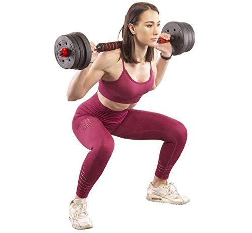 Megaastore Hantelset + Hantelstange 30KG | 2 Hanteln 15 kg Verschiedene Übungsmöglichkeiten, trainiert alle Muskelgruppen | Verstellbare Hanteln für Fitness zu Hause für Männer und Frauen