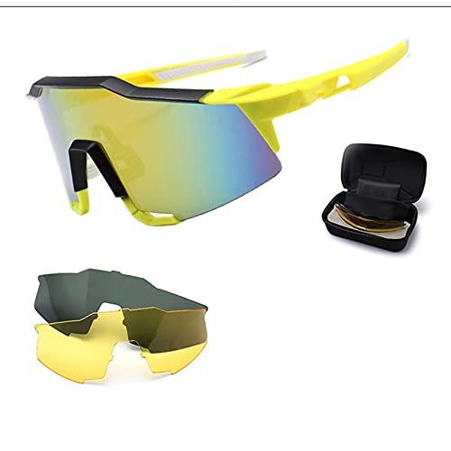 Afang Gafas Sol Polarizadas, Ciclismo 3 Lentes Intercambiables UV400 Bicicleta Montaña, Gafas Sol Deportivas 100% Protección UV Caja Deportes Aire Libre,B
