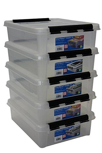 Orthex 35890705 5er Set Clipbox Smart Store Classic 14 Aufbewahrungsbox Plastik 40 x 30 x 12 cm, transparent