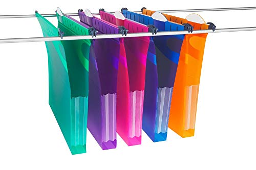 Rexel Foolscap Heavy Duty Suspension Files with Tabs and Inserts for Filing Cabinets, 30 mm base, Polypropylene, Assorted Colours, Multifile Extra Secura, Pack of 10, 2102574