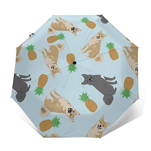 Norwegischer – Ananas-Regenschirm, automatisch, dreifach faltbar, kompakt, UV-Schutz, wasserdicht, winddicht