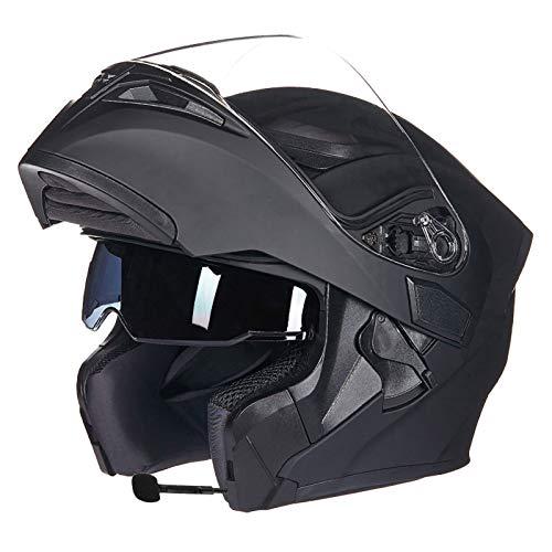 SJAPEX Bluetooth Integrado Modular Casco,MultifuncióN Casco Plegable Modular para Motocicleta con Visera Doble Antiniebla Bluetooth Integrado Casco Certificación ECE D,L=58~59cm