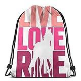 Jhonangel Live Love Ride HorseLive Love Ride Cheval Sac à Dos de Sport avec Cordon de Serrage Sac à Dos léger pour Gym Yoga Sac à Dos décontracté en Plein air