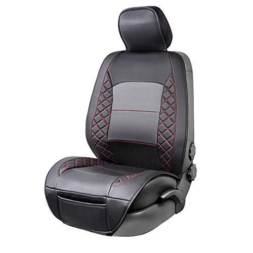 AmazonBasics - Funda Deluxe de asiento de cuero sintético de ajuste universal sin laterales, negro con patrón rojo de diamante