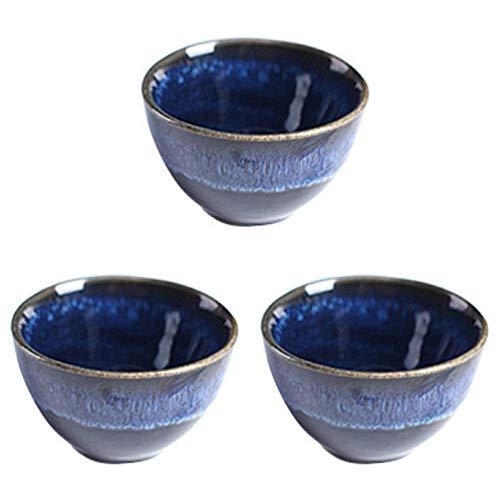 Hemoton 3 Piezas Tazas de Sake Tazas de Cerámica de Sake Estilo Japonés Copa de Vino Taza de Té Taza de Café Azul