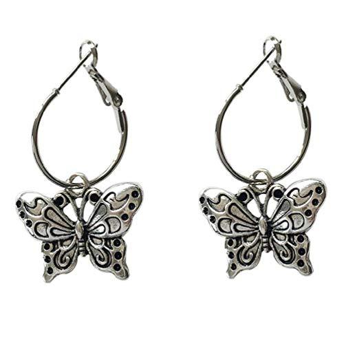 Pendientes de aro vintage de plata con colgante de mariposa para mujer, joyería de moda hipoalergénica