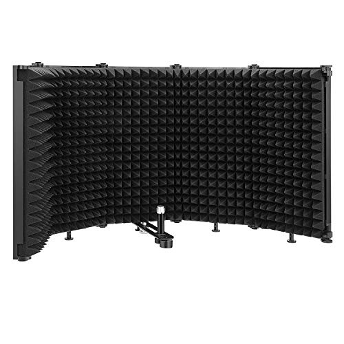 Bomaite Small 5-Panel Microphone Isolation Shield Foldable & Portable High Density Sound-Absorbing Foam Panel for Studio Recording