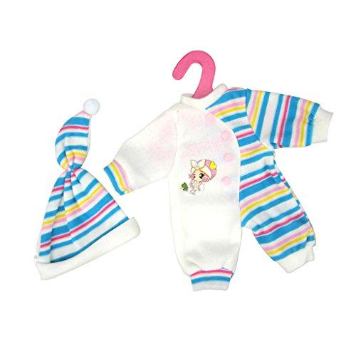 Gazechimp Puppe Pyjamas Schlafanzug Kleidung mit Hut Set Outfit für 35 - 40cm Puppe - Blau