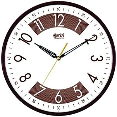 Ajanta Designer Round Wall Clock Silent Non Ticking Battery Operated for Kitchen Home Office Clock with Large Numbers (30 x 30 x 5 cm, Quartz, Brown)