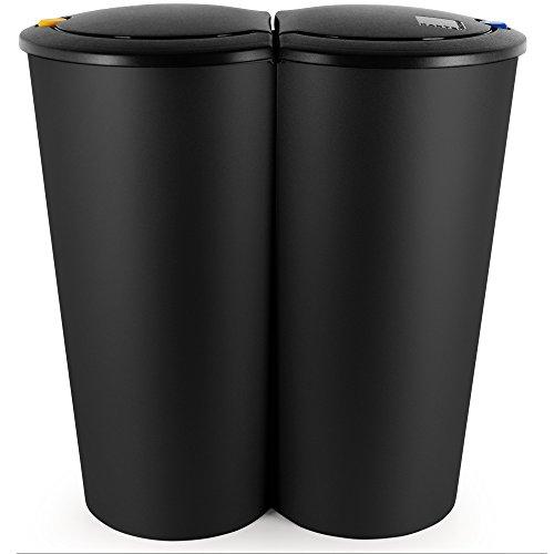 Deuba Mülleimer Duo Schwarz | 50L Abfalleimer Doppelmülleimer 2fach Trennsystem Druckknopf-Automatik | Küche Bad Büro