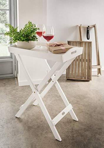 Destiny Tablett Palermo Weiß Stehtablett 60 x 40 x 72 Hartholz Akazie