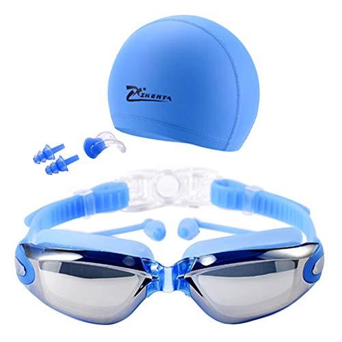 XQxiqi689sy Unisex UV-Schutz Schwimmen Schnorchelmütze Antibeschlagbrille Schwimmbrille Schwimmset Gr. Einheitsgröße, Plating Blue