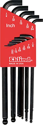 EKLIND 13111 Stubby-Ball-Hex-L Key allen wrench - 11pc set SAE Inch Sizes .050-1/4 Long series