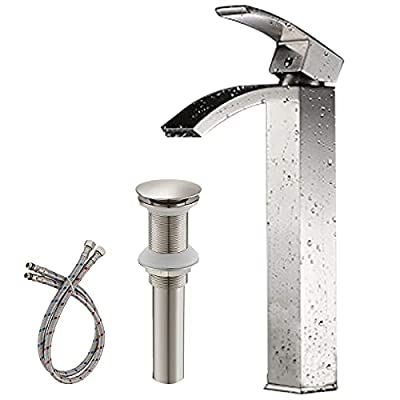 Greenspring Bathroom Vessel Sink Faucet Brushed Nickel Tall Waterfall Spout Single Handle Commercial Basin Mixer Tap Without Overflow Pop Up Drain