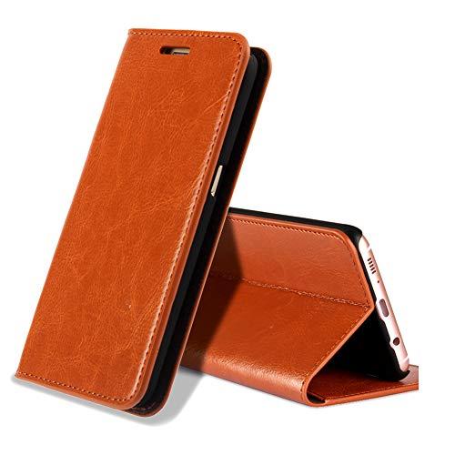 EATCYE Funda Galaxy S8, [Cuero Genuino] Prima Vintage Carcasa Libro de Cuero Estuche Plegable [Cierre Magnético] para Samsung Galaxy S8 (Marrón)