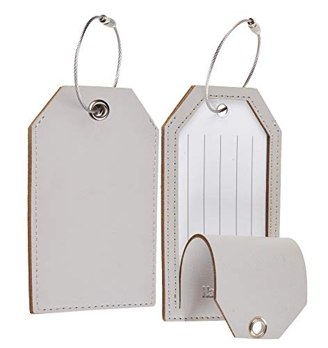 Toughergun Leather Instrument Baggage Bag Luggage Tags with Privacy Cover 2 Pcs Set (Grey Light)