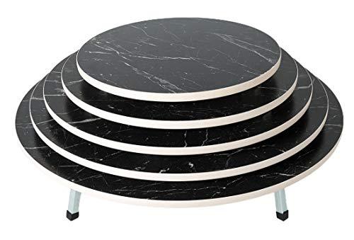 Traditionelle Teigtisch Bodentisch Klapptisch mit klappbaren Füßen Yer Sofra Esstisch Yufgasofra Rund Holz Marmor Design Schwarz Größe Ø 70cm