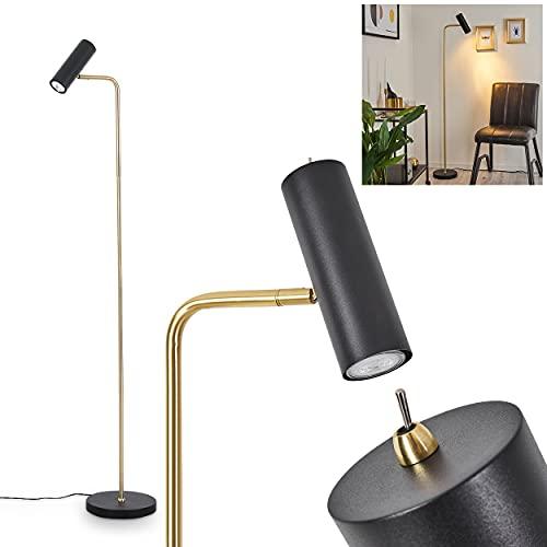 Lámpara de pie Zuoz, lámpara de suelo de metal en color negro y dorado, diseño moderno, foco ajustable a voluntad, 1 foco, 1 bombilla GU10 máx. 15 W, con interruptor de encendido/apagado en la carcasa