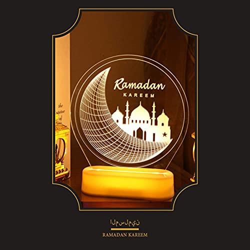 TBNB Ramadán Luces para decoración del hogar, lámparas de Noche islámicas LED acrílico Luna Estrella patrón musulmán Adornos de Mesa Ramadán Mubarak decoración lámpara Musulmanes Decora