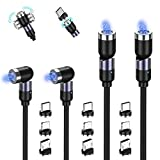 TOPK Cable de Cargador Magnético 4 Pack(1m/1m/2m/2m, Rotación de 360° y 180° Nylon Trenzado Cable USB Magnético Carga Rápida de Móvil 3 en 1 para Micro USB, Tipo C, i-Producto, (Negro)