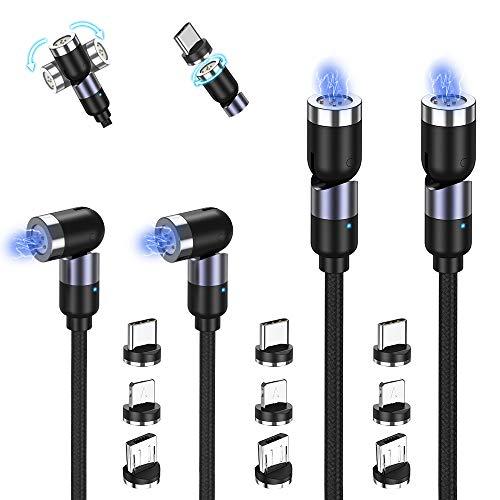 TOPK Cable de Cargador Magnético 4 Pack(1m/1m/2m/2m), Rotación de 360° y 180° Nylon Trenzado Cable USB Magnético Carga Rápida de Móvil 3 en 1 para Micro USB, Tipo C, i-Producto, (Negro)