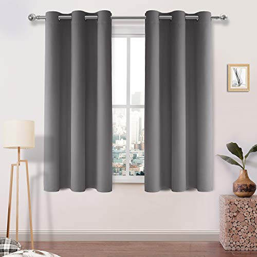 DWCN Light Grey Blackout Curtains Blocking Light Room Darkening Thermal Insulated Grommet Window Curtain for Bedroom Living Room Privacy Solid Drapes 38 x 45 Inches Length, Set of 2 Thick Panels