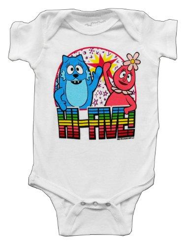 Mini Fine Yo Gabba Gabba Toodle and Foofa Hi Five Cartoon Baby Snapsuit: 0-6 Mo White
