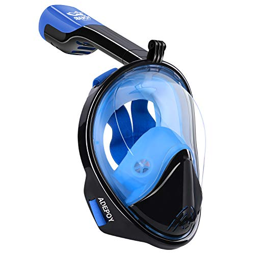 adepoy Full Face Snorkel Mask, Snorkeling Mask for Adults and Kids with...