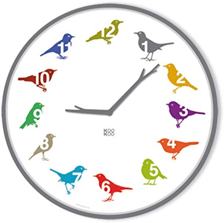 KOOKOO UltraFlat Farbe, Moderne Singvogeluhr mit 12 heimischen Vgeln und echten, natürlichen Vogelstimmen, plakatives Zifferblatt, Wanduhr mit Lichtsensor