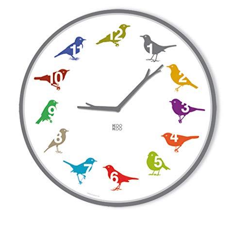 KOOKOO UltraFlat Color, Moderne Singvogeluhr mit 12 heimischen Vogelstimmen