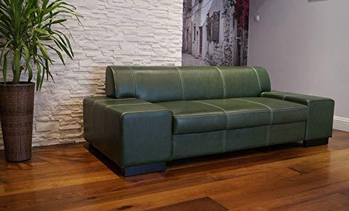 Quattro Meble groen echt leer 2,5 zits bank London breedte 220 cm lederen bank echt leer met siernaad grote kleurkeuze !! !