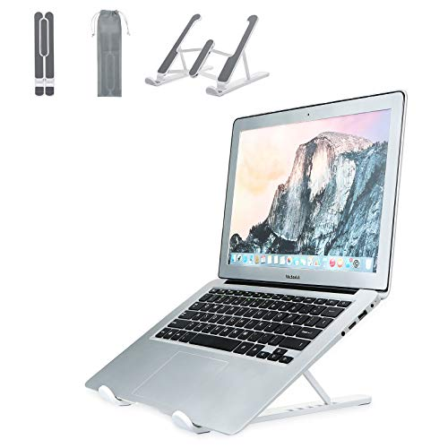 Soporte Portatil 6 Ángulos Ajustables, Laptop Stand Plegable Portátil Ventilado, ABS+Silicona+Aleación de Aluminio Soporte Ordenador Portátil para Macbook HP PC Todas Portátile y Tableta 10-17'
