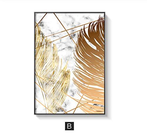 Zmdmg Piante nordiche Foglia d'oro dipinti su tela poster e stampe quadri su tela per soggiorno camera da letto sala da pranzo arredamento moderno-B_30x41cm