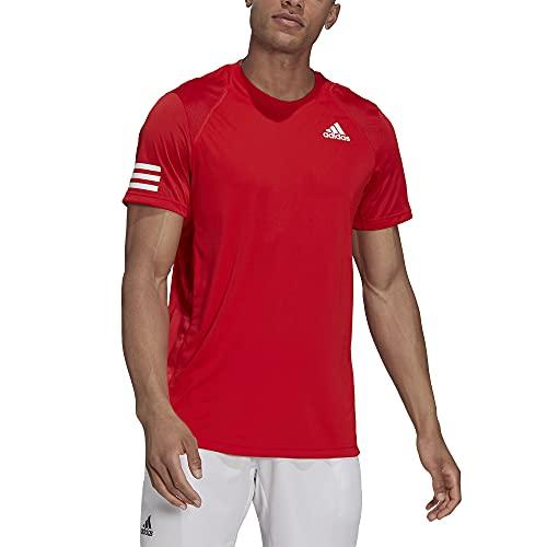 adidas Camiseta estándar de tenis de 3 rayas para hombre - 22590, Club Tennis - Camiseta de 3 rayas, XL, rojo / blanco (Vivid Red/white)