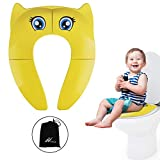 Potty Training Seat, Folding Travel Portable Reusable Toilet Potty Training Seat Covers Liners with Non-Slip Silicone Pad Fits Round & Oval Toilets for Babies,Toddlers and Kids