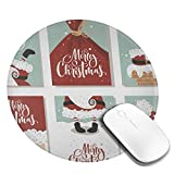 Mini Mouse Pad Round Funny Cute Santa Claus Merry Christmas Computer Mouse Pads Laptop Mousepad Circle Small Cute Personalized Gaming Mouse Mat for Women Kids Girls Boys Men Non Slip 7.9 X 7.9