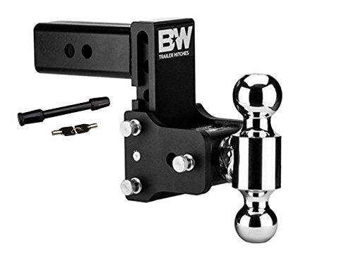 B&W Hitches TS20037B 5' Drop & 4-1/2' Rise Ball Mount w/2' x 2-5/16' Dual Ball and 5/8' Black Receiver Hitch Lock Bundle