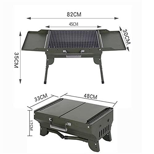 41kYiBqkjwS. SL500  - WENYOG BBQ Grill Mini-zusammenklappbarer tragbarer Grill-Camping im Freiengrill-Ständer-Klappkohle-BBQ-Grillgitter-Grillzubehör Werkzeuge Faltbarer Grill (Color : Green Grill)