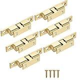 6 Piezas Ajustable Doble Bola Pestillos de Armario de Cobre con Tornillos 50 mm Cierre de Tensión para Puerta de Armario Muebles Baño Cerradura de Captura de Puertas(Dorado)